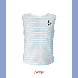Annys海洋風船錨布貼條紋無袖上衣*8375水藍