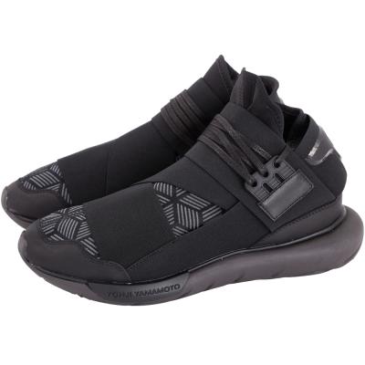 Y- 3  QASA HIGH 幾何圖形拼接綁帶球鞋(黑色)