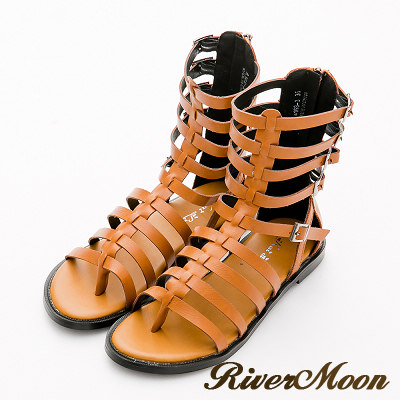 River&Moon涼鞋-經典編織魚骨中筒平底羅馬涼鞋-黃棕