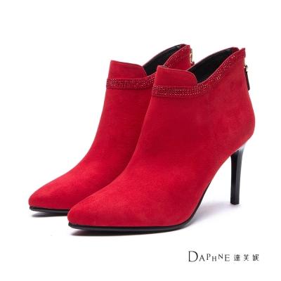 達芙妮DAPHNE 短靴-排鑽綴邊絨布高跟踝靴-紅