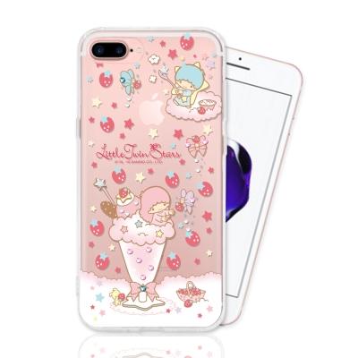 KIKILALA 雙子星 iPhone 7 plus 彩繪空壓手機鑽殼-草莓奶昔
