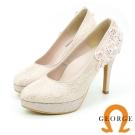 GEORGE-婚鞋系列-法式蕾絲後跟花朵拼貼高跟鞋-粉色