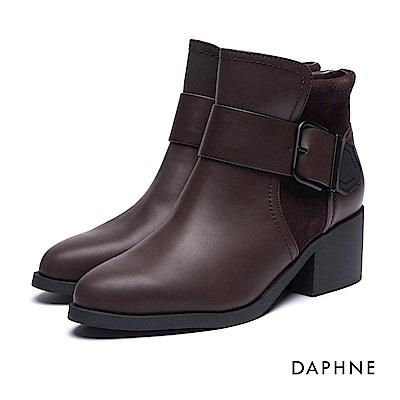 達芙妮DAPHNE 短靴-寬版皮帶釦短絨拼接粗跟踝靴-咖啡
