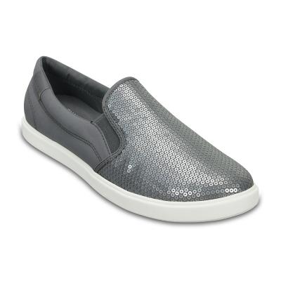 Crocs 卡駱馳 (女) 都會街頭閃亮便鞋-204285-040