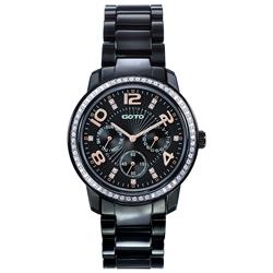 GOTO 躍色純粹晶鑽陶瓷腕錶-IP黑x玫刻度/39mm