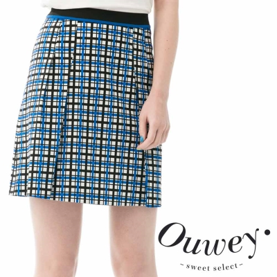 OUWEY歐薇-不敗款藍白格紋A字裙