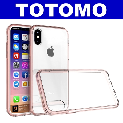 TOTOMO  For:iPhone X 防摔保護殼(高顏質超透感硬背板)-粉邊