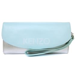 KENZO 雙色皮革翻蓋長夾(銀水藍)(附手掛帶)