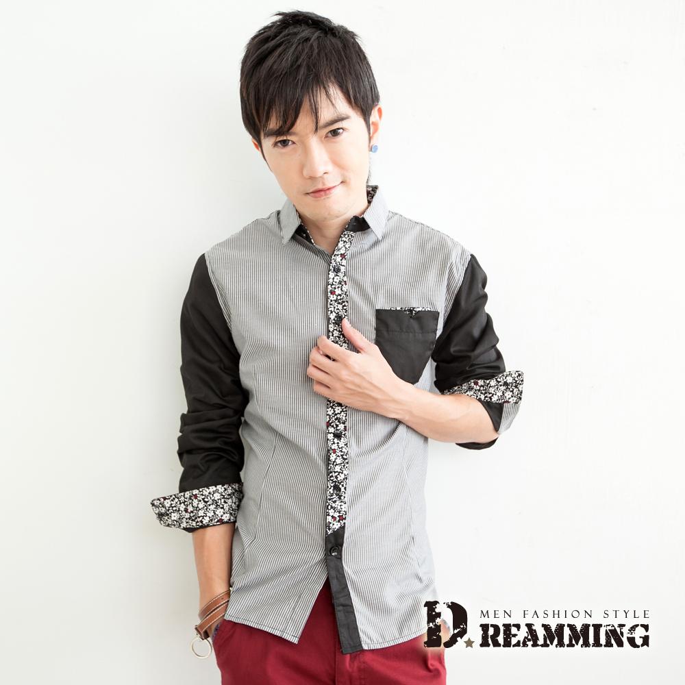 Dreamming 剪接碎花條紋長袖襯衫-共二色