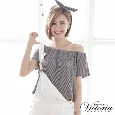 Victoria 肩帶式平肩拉克蘭短袖T-女-黑白條