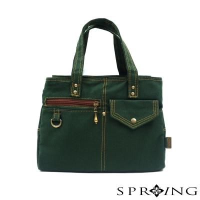 SPRING-MIT簡約風格-帆布包-三層手提包