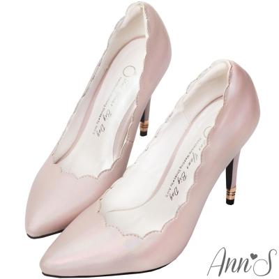 Ann'S海底的美人魚-夢幻滾邊彩色光感尖頭高跟鞋-粉