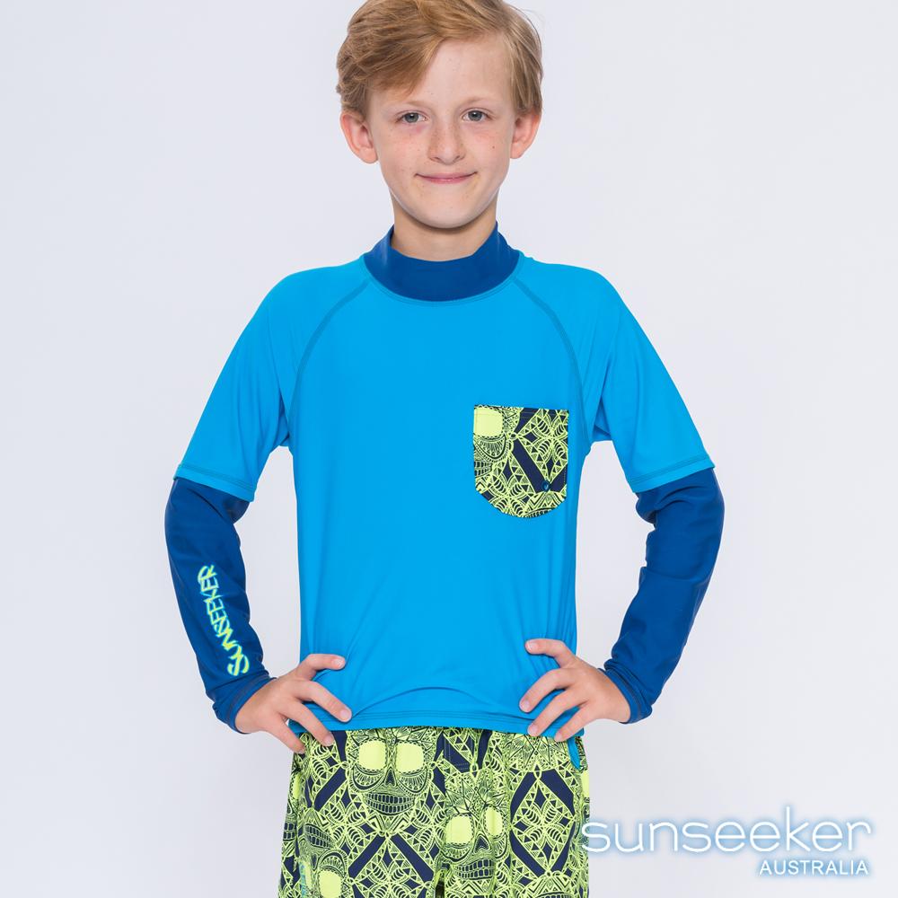 澳洲Sunseeker泳裝抗UV防曬立領長袖假兩件式泳衣-大男童上衣/天藍