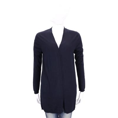 ALLUDE 深藍色素面開襟長版羊毛外套(100%WOOL)