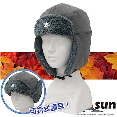 【VOSUN】高效防風透氣保暖兩用遮陽護耳帽子_灰