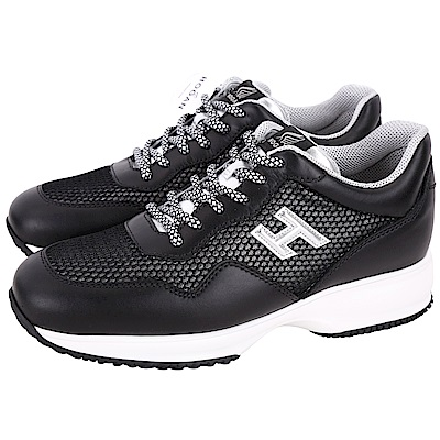 HOGAN Interactive H LOGO 黑色網布拼接綁帶休閒鞋