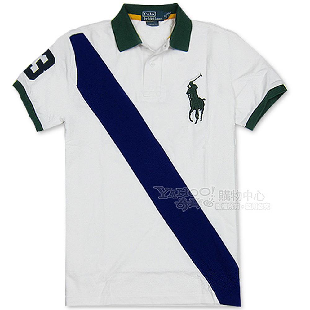 Ralph Lauren 對角斜紋3號POLO男衫(白)