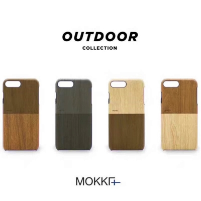 Mokka iPhone 7+ 時尚木紋手工拼接手機殼