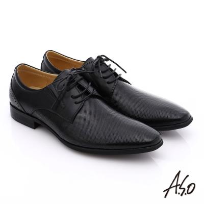 A.S.O 職人通勤 真皮漸層雕花紳士皮鞋 黑色