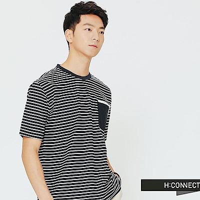 H:CONNECT 韓國品牌 男裝-簡單設計條紋上衣-藍