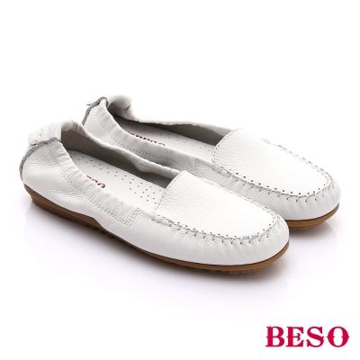 BESO-極簡風格-牛軟皮素面縫線懶人鞋-白