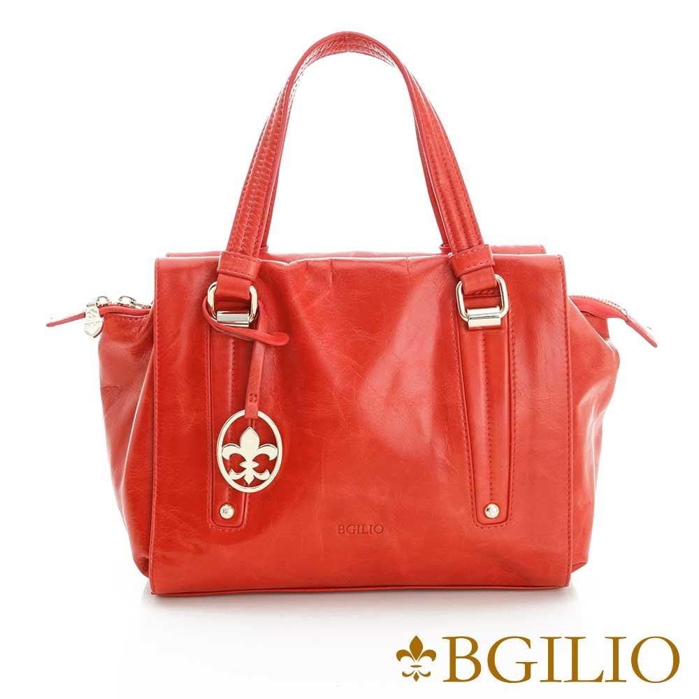 義大利BGilio-青春亮麗臘感牛皮手提包-紅色2111.002A-01
