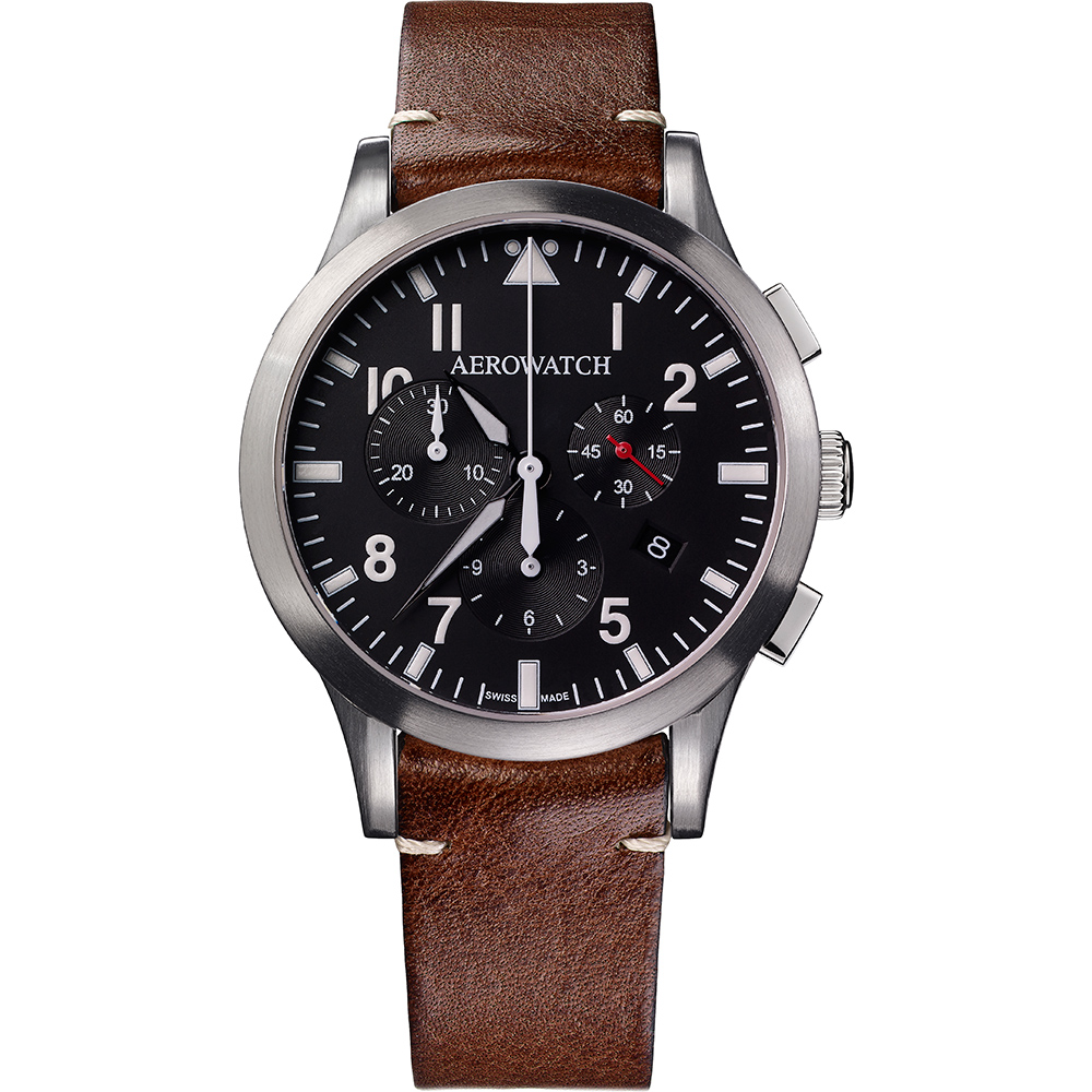 AEROWATCH Grace優雅風範三眼計時腕錶-黑x咖啡色錶帶/42mm