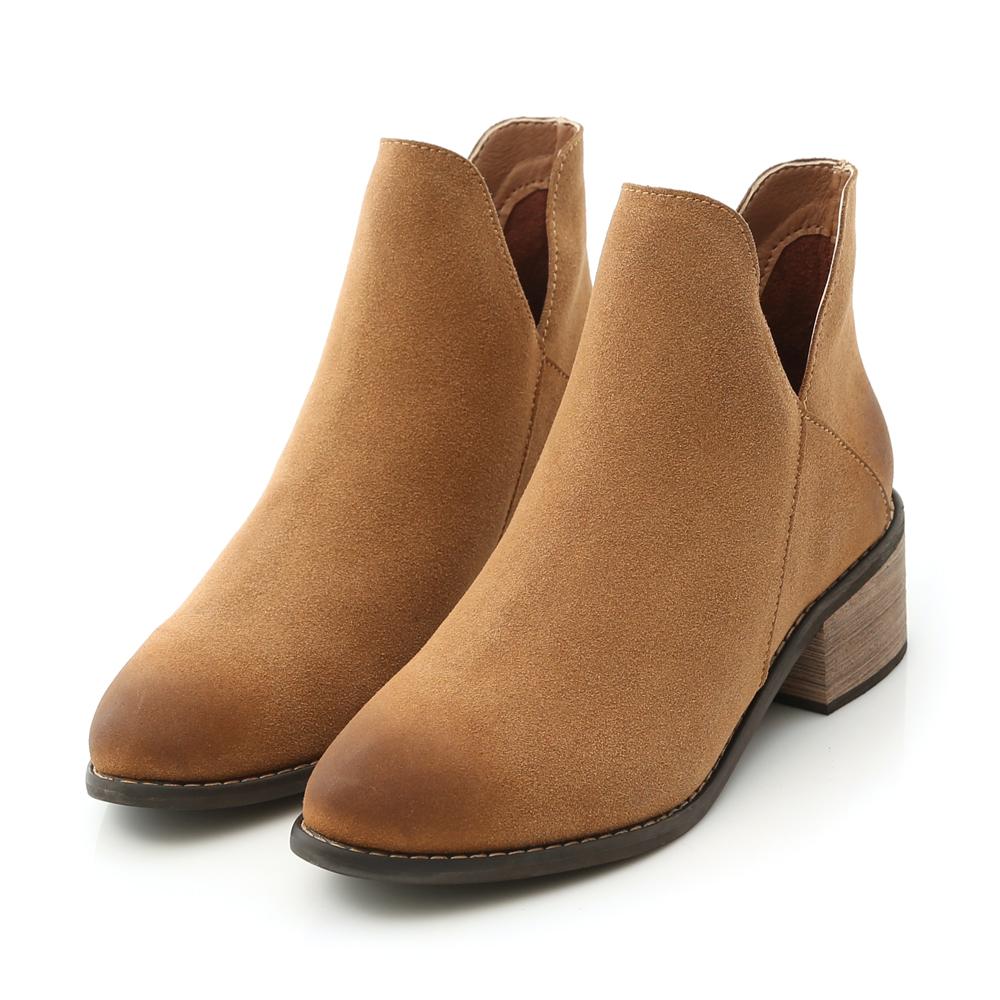D+AF 獨特風潮.仿舊感側V口尖頭短靴*棕