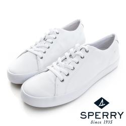 SPERRY 中性百搭個性皮革休閒鞋-(中性款)-白