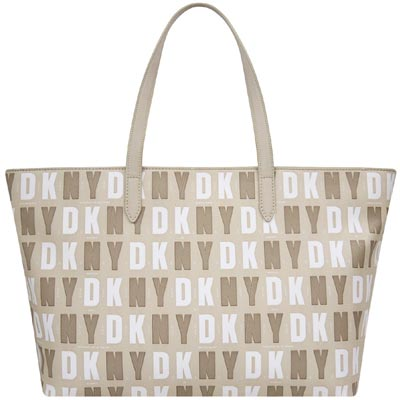 DKNY 卡其色LOGO字樣PVC托特包