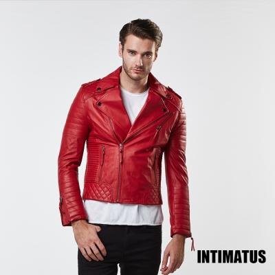 真皮皮衣 華麗搖滾騎士風小羊皮皮衣-辣椒紅色 INTIMATUS