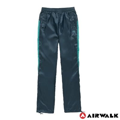 AIRWALK-女-拼接色塊風衣長褲-深藍