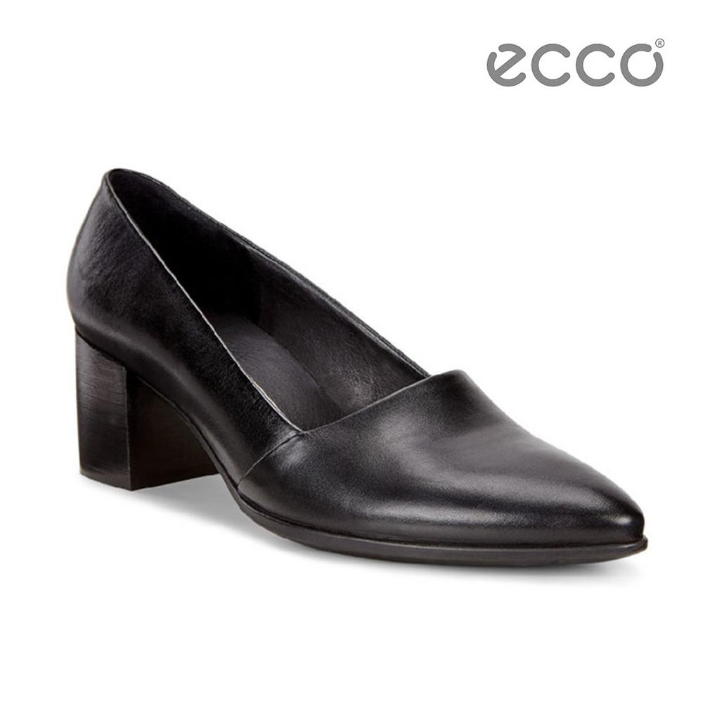 ECCO SHAPE 45 POINTY BLOCK 復古粗跟尖頭跟鞋-黑 @ Y!購物