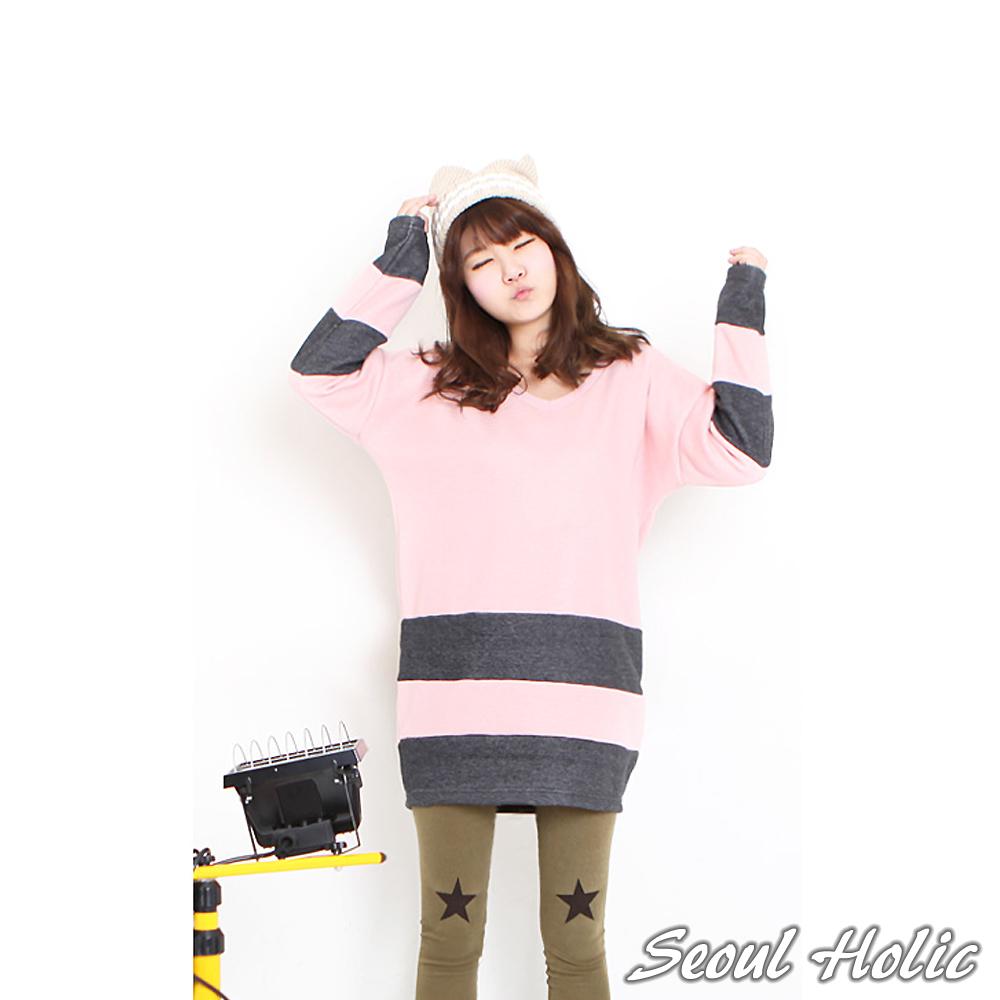 【Seoul Holic】條紋色塊拼接厚綿長版T (粉色)