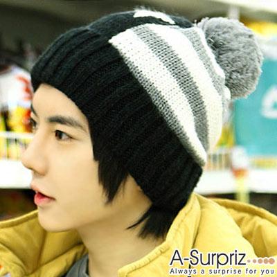 A-Surpriz 韓風星光條紋球球毛線帽(帥性黑)