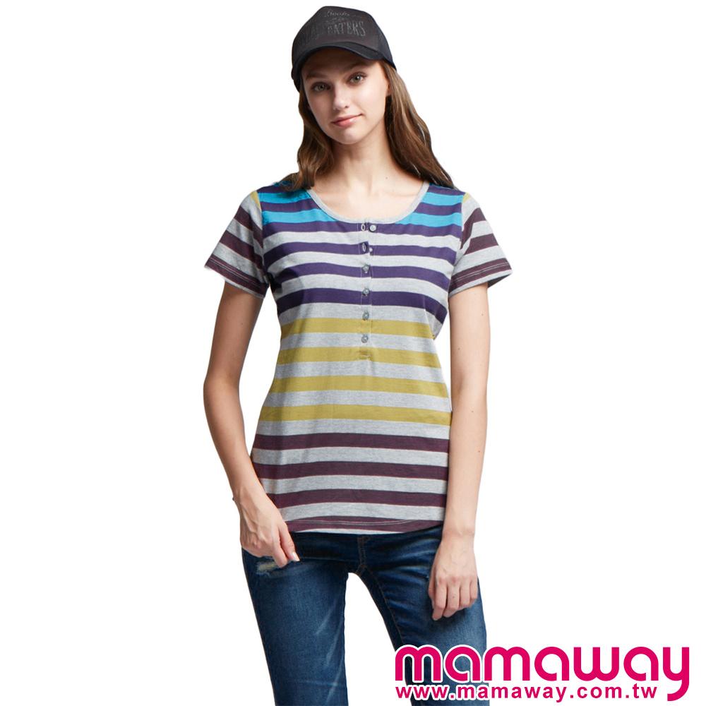 Mamaway 開襟漸層條哺乳上衣(共二色)