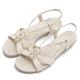 MAGY 夏日甜心 圓形鑽飾柔軟平底涼鞋-米