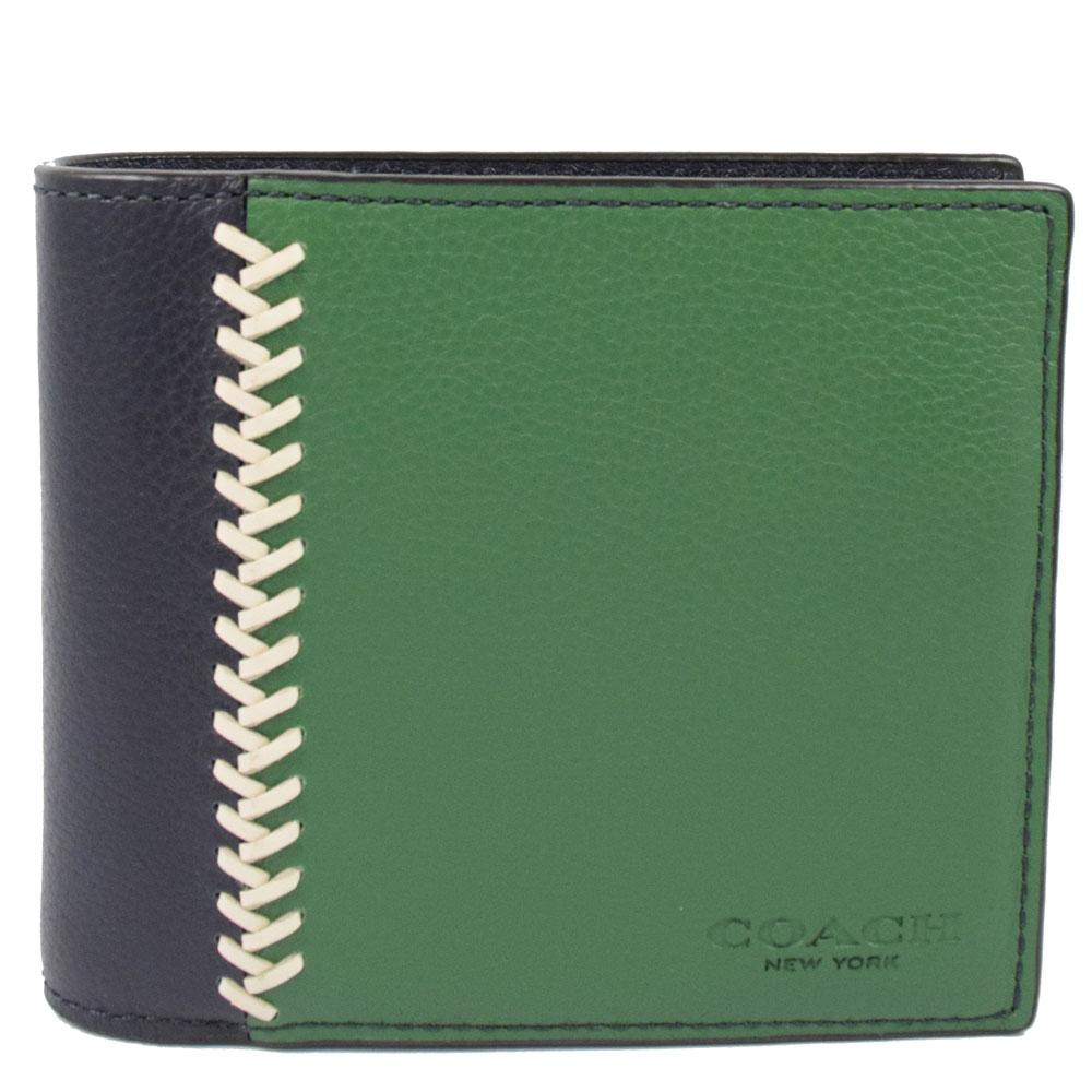 COACH  經典LOGO撞色皮革附活動夾中短夾.黑/綠COACH