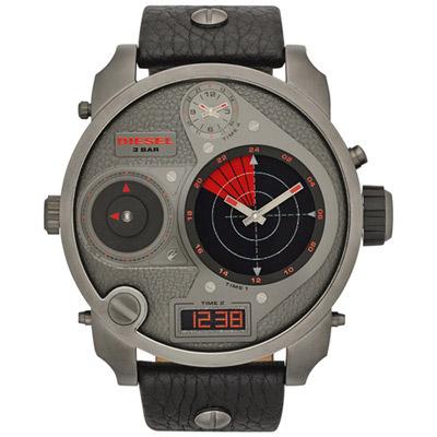 DIESEL 探險家四地時區雷達個性腕錶-皮帶/鐵灰紅/57mm