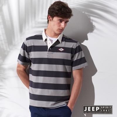 JEEP 假兩件式條紋短袖POLO衫 (灰色)