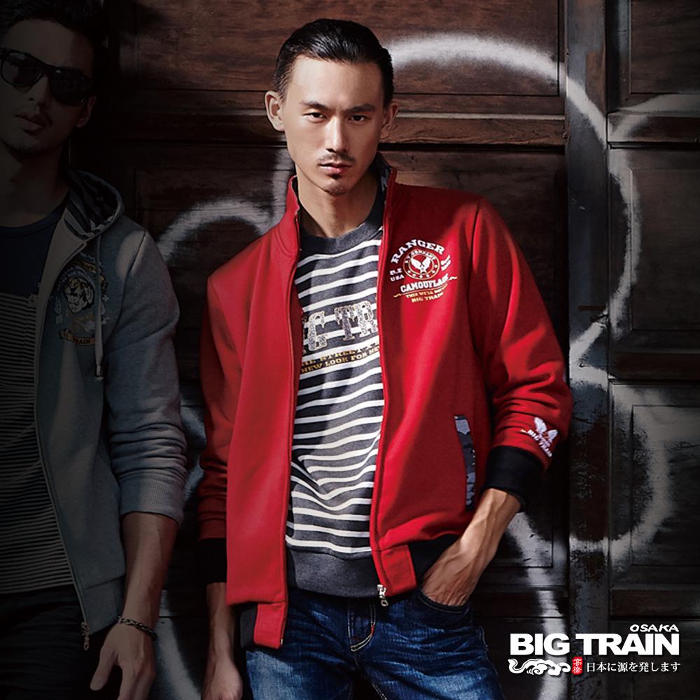 BIG TRAIN 迷彩配布立領外套-男-暗紅