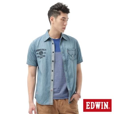 EDWIN男單口袋繡花牛仔襯衫