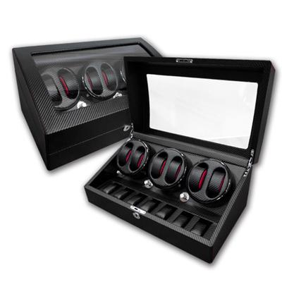 機械錶自動上鍊收藏盒 3旋6入錶座轉動 高質感碳纖維 - 黑色