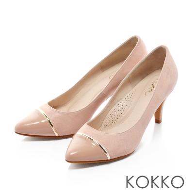 KOKKO-尖頭異材拼接金屬環高跟鞋-膚