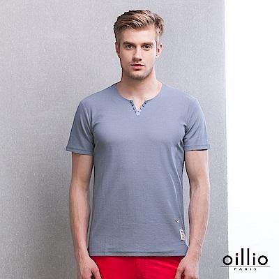 歐洲貴族oillio V領T恤 臘腸狗刺繡 造型V領  灰色