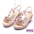 【ee9】花漾年華-靚亮鑽飾立體花朵防水台楔型涼鞋*米色