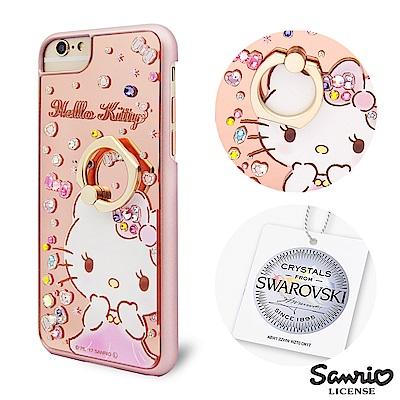 三麗鷗 Kitty iPhone8/7/6s 施華彩鑽鏡面指環扣手機殼-寶石凱蒂