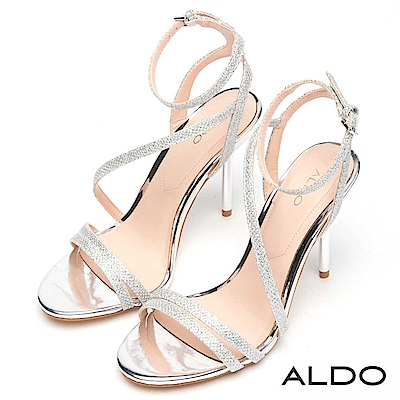 ALDO 原色不對稱窄版繫帶繞踝細高跟涼鞋~耀眼銀色
