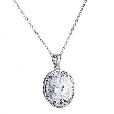 Crislu 橢圓鋯石圈鑲墜銀項鍊