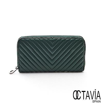 OCTAVIA8真皮 - 勝利的姿態  V字水波紋全拉式羊皮長夾- 源源綠